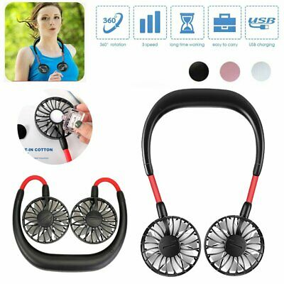Portable Dual Cooling Mini Sport Fan USB Rechargeable Neckband Lazy Neck Hanging
