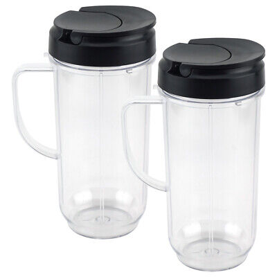 2 Pack 22 oz Tall Cup with To-Go Lid Replacement Part Magic Bullet 250W MB1001
