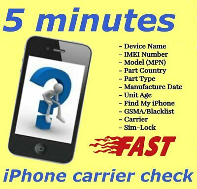 INSTANT iPhone IMEI Check  SimlockCarrier Find My Iphone Blacklist Status