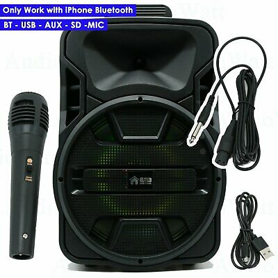 EMB 1200 Watts 12 Rechargeable Portable PA DJ Speaker Bluetooth Light Stand