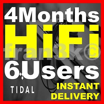 TIDAL Hi-Fi FAMILY Plan  6 Users 3 Months GUARANTEED  INSTANT DELIVERY 5 min