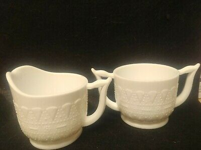 Milk Glass  Kemple Opaque Lace and Dewdrops  Sugar Bowl - Creamer set