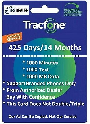 TracFone 1- Year 425 days Service 1000 Mins2000 Text1000MB For All SmartPhones