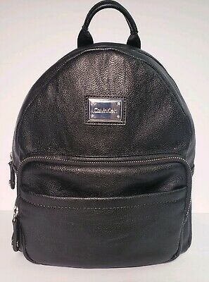 Calvin Klein Authentic Black Leather Unisex Travel Backpack