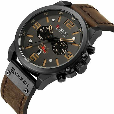 CURREN Military Mens Watches Top Sport Chronograph Leather Army Infantry Watch