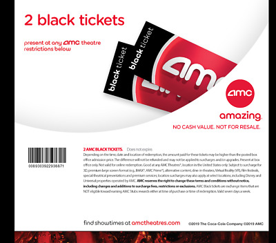 AMC Theatres - 2 Black Movie Tickets - fast edelivery