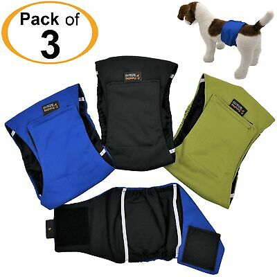PACK of 3 LEAK PROOF Male Dog Diapers Belly Band Wrap Washable XS S M L XL