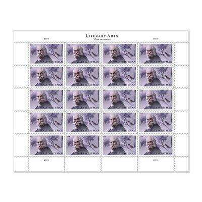 USPS New Walt Whitman Pane of 20