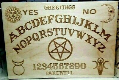 Wooden Ouija Board - Planchette w Wiccan Goddess Horned God - Pentagram