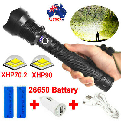 Most Powerful 110000LM Tactical 3 Mode XHP70-2 Zoom Flashlight LED Hunting Torch