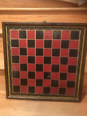 Antique 19th Century Painted Gameboard Checkerboard 5 Colors