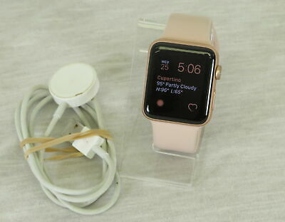 Apple Watch Series 3 42mm GPS Only Rose Gold Case w Pink Sand Sport Band