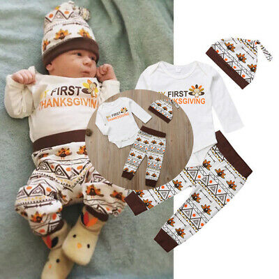 Turkey Print Thanksgiving Infant Baby Boy Girl Romper Pant Hat Clothes Outfit US