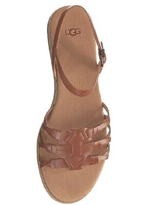 New UGG Australia Womens Larisa Brown Leather Back Strap Sandals Size 6-5