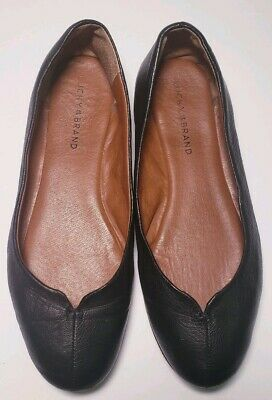 Lucky Brand Womens Black Leather Ballet Flats Size 9-5