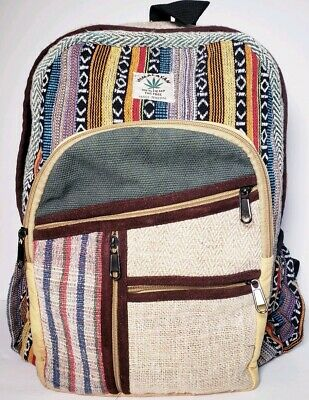 Himalayan 100 Hemp THC Free Multi Color Backpack Made in Nepal