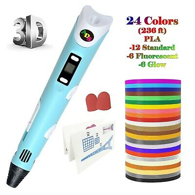 US Fast Ship - 3D Printing Pen LowTemperature with LED - 24Color 236 FtFilament