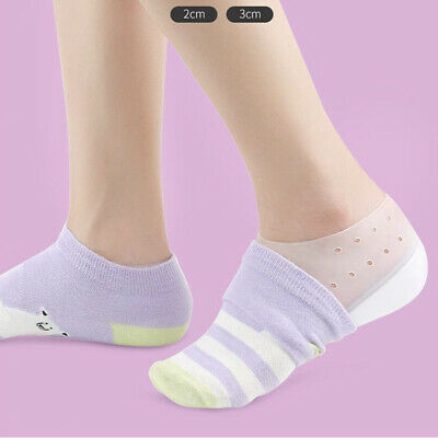 2-3cm Height Increase Insole Invisible Heel Lift Pad SiliconeGel Insert Sock
