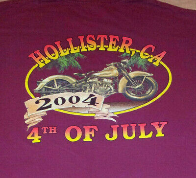 Hollister CA Fourth of July 2004 Motorcycle Rally T Shirt Large GUC INV0033