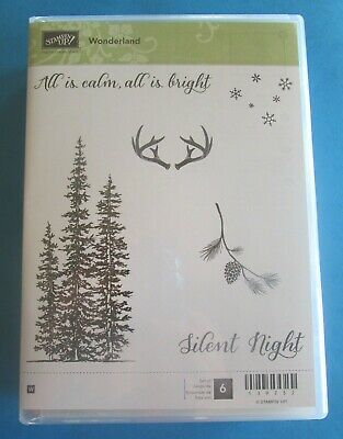 Stampin Up WONDERLAND Rubber Stamps Christmas EVERGREEN TREES Pine Cone ANTLERS