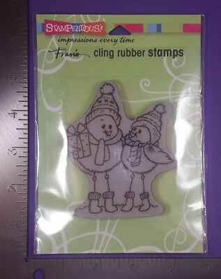 STAMPENDOUS CLING RUBBER STAMPS - SPINDLY BIRDS WINTER SNOW CHRISTMAS