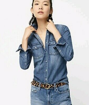J Crew Womens Western Chambray Shirt In Vintage Indigo Color Size 6