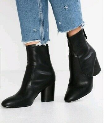 NEW TOPSHOP Womens Bella Black Ankle Heels Boots Size 8-5