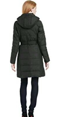 Tommy Hilfiger Women's Black Quilted Hooded Mid-Length Puffer Winter Coat Size M