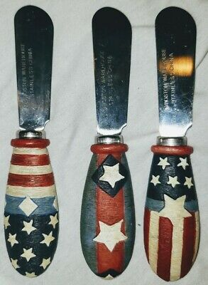 3 4th FOURTH OF JULY Memorial Day FLAG USA Cheese JELLY Spreaders