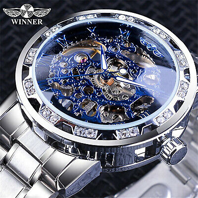 T-WINNER MENS STAINLESS STEEL VINTAGE DIAMOND HOLLOW MECHANICAL WATCHES  1089