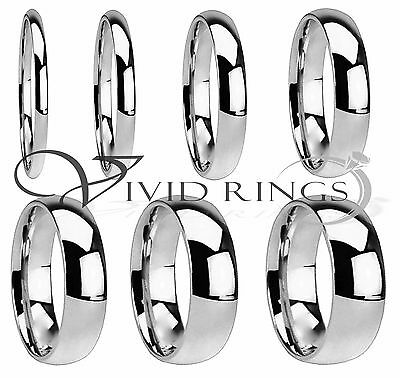Mens - Womans Stainless Steel Wedding Band High Polish Ring Size 3-5 to 14-5