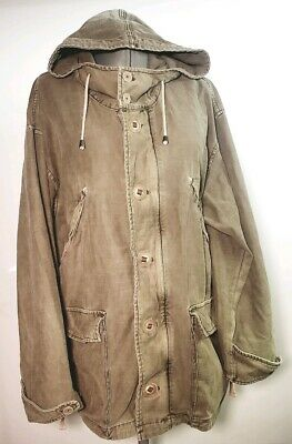 Free People Womens Military Olive Green 100Cotton Hooded Parka Jacket Size L