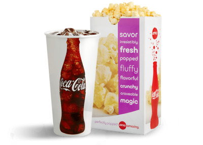 Qty 1 AMC Theaters LARGE POPCORN and LARGE DRINK Gift Certificates
