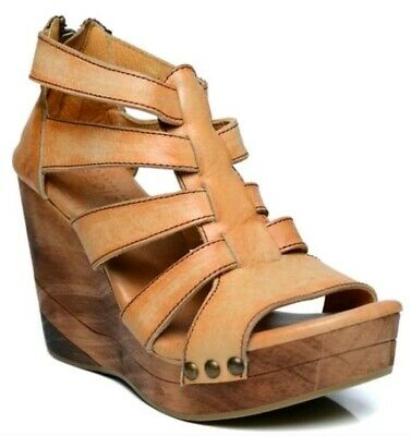 Bed Stu Womans Olinda Authentic Tan Lether Wedge Strap Sandals Size 6-5