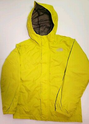 The North Face Boys HyVent YellowNeon Windbreaker Hooded Jacket Size M 10-12Y