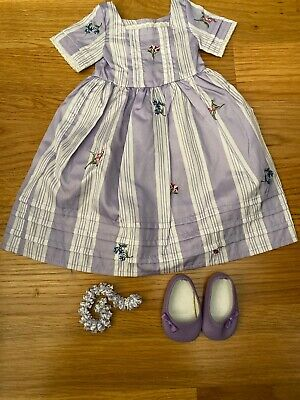 American Girl Doll Felicity Dress Purple Shoes And Necklace New
