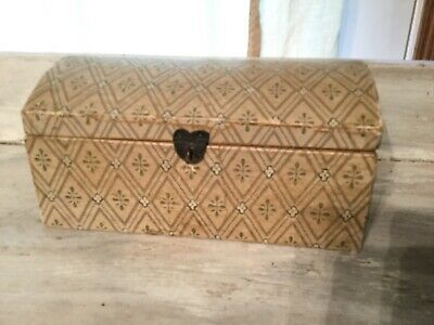 Antique Wallpaper Box with Heart Latch and Heart Hinges AAFA