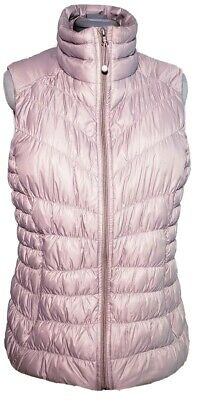 Athleta Womens Goose  Down Downtime Cocoa Color Quilted Full Zip Vest Size  L