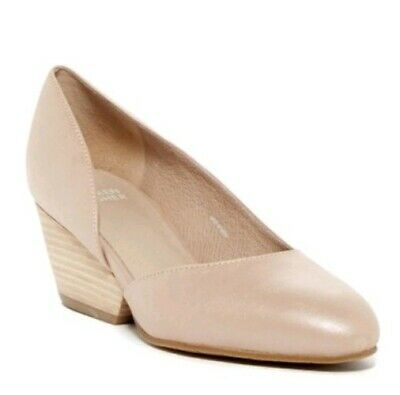 EILEEN FISHER Womens Lily Half DOrsay Wedge Pumps Nude Leather Shoes Size 7
