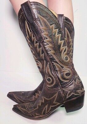 Old Gringo Womens Nevada Cowboy Boots Crackled Leather Snip Size 5-5