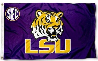 LSU Tigers SEC Tiger Flag  Large 3X5 College Banner  FREE SHIPPING