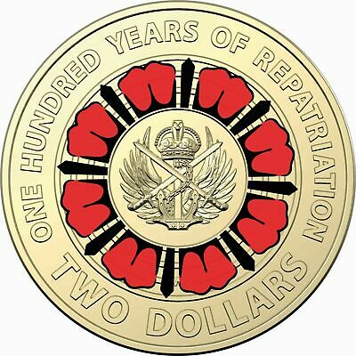 2019 2 COIN 100 YEARS OF REPATRIATION ANZACS RED POPPY UNCIRCULATED 01