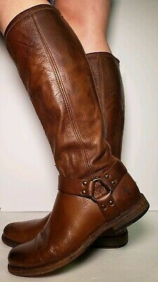 Frye Womens Phillp Harness Brown Leather Riding Tall Boots Size 9