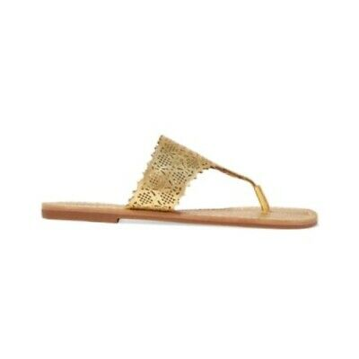 Tory Burch Womens Roselle Metallic Gold Leather Thong Flat Sandals Size 6