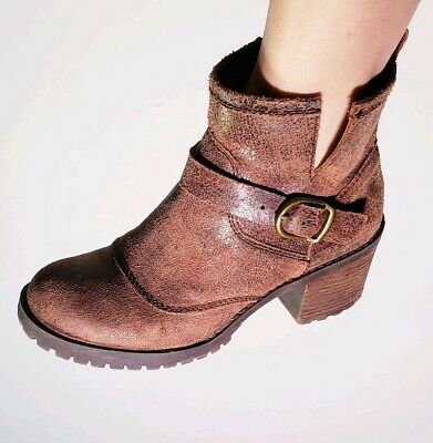 Lucky Brand Womens Brown Nubuck Heeled Moto Bike Ankle Boots Size 8