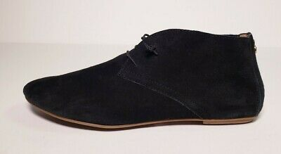 VARESE Womens Black Suede Lace Up Moccasins Flat Boots Made in Italy Size 4