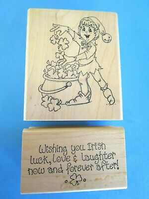 LEPRECHAUN - SHAMROCKS Rubber Stamp ST PATRICKS DAY Irish Luck Words