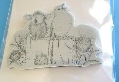 House Mouse SING A SONG Cling Rubber Stamp BIRD Fence Post THISTLE
