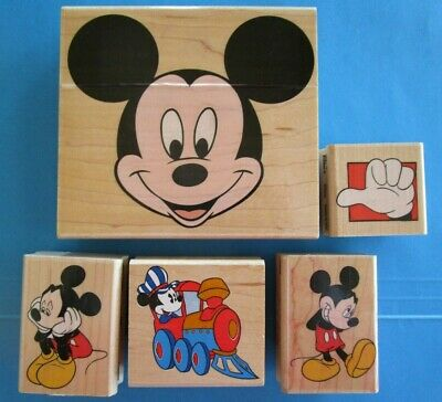 5 MICKEY MOUSE Rubber Stamps DISNEY CARTOON