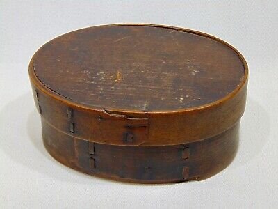 ANTIQUE PRIMITIVE 19 C- BENTWOOD PANTRY STORAGE BOX w LID USING IRON STAPLES